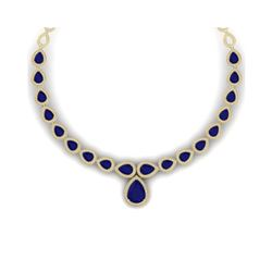 51.41 ctw Sapphire & VS Diamond Necklace 18K Yellow Gold