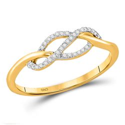 10kt Yellow Gold Round Diamond Crossover Strand Ring 1/10 Cttw