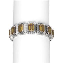 68.23 ctw Canary Citrine & Diamond Bracelet 18K White Gold