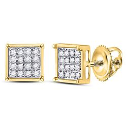 10kt Yellow Gold Round Diamond Square Cluster Earrings 1/10 Cttw