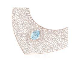 63.27 ctw Sky Topaz & VS Diamond Necklace 18K Rose Gold