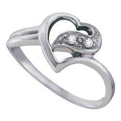 10kt White Gold Round Diamond Simple Heart Ring 1/20 Cttw