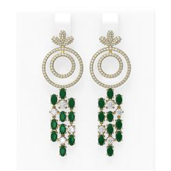 11.72 ctw Emerald & Diamond Earrings 18K Yellow Gold