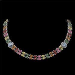43.68 ctw Sapphire & Diamond Necklace 14K White Gold
