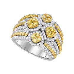 14kt White Gold Round Natural Canary Yellow Diamond Fashion Ring 2-7/8 Cttw