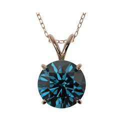 2 ctw Certified Intense Blue Diamond Solitaire Necklace 10K Rose Gold