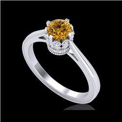 0.81 ctw Intense Fancy Yellow Diamond Art Deco Ring 18K White Gold