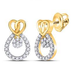 10kt Yellow Gold Round Diamond Heart Teardrop Dangle Stud Earrings 1/6 Cttw