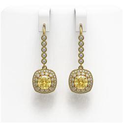4.1 ctw Canary Citrine & Diamond Victorian Earrings 14K Yellow Gold