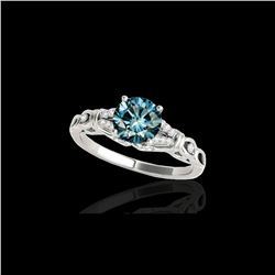 1.2 ctw SI Certified Fancy Blue Diamond Solitaire Ring 10K White Gold