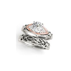 1.35 ctw Certified VS/SI Diamond Solitaire 2pc Set Ring 14K White & Rose Gold
