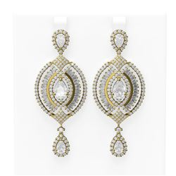 9.91 ctw Diamond Earrings 18K Yellow Gold