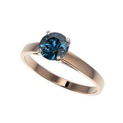 1.06 ctw Certified Intense Blue Diamond Engagement Ring 10K Rose Gold