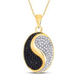 10kt Yellow Gold Round Black Color Enhanced Diamond Oval Yin Yang Pendant 1/3 Cttw