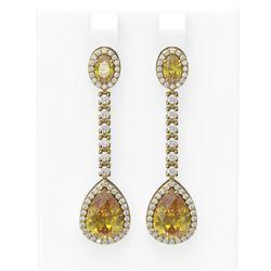 8.05 ctw Canary Citrine & Diamond Earrings 18K Yellow Gold