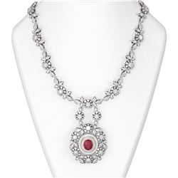 24.87 ctw Ruby & Diamond Necklace 18K White Gold