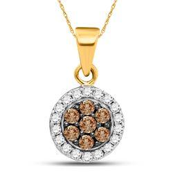 10kt Yellow Gold Round Brown Diamond Framed Flower Cluster Pendant 3/8 Cttw
