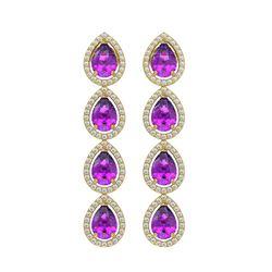 7.85 ctw Amethyst & Diamond Micro Pave Halo Earrings 10K Yellow Gold