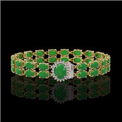 29.82 ctw Jade & Diamond Bracelet 14K Yellow Gold