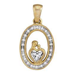 Yellow-tone Sterling Silver Round Diamond Mom Child Oval Pendant 1/8 Cttw