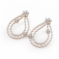 17 ctw Pear and Marquise Cut Diamond Earrings 18K Rose Gold