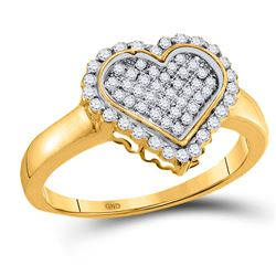 10kt Yellow Gold Round Diamond Heart Cluster Ring 1/4 Cttw