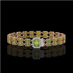 16.97 ctw Tourmaline & Diamond Bracelet 14K Rose Gold