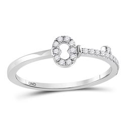 10kt White Gold Round Diamond Key Stackable Band Ring 1/8 Cttw