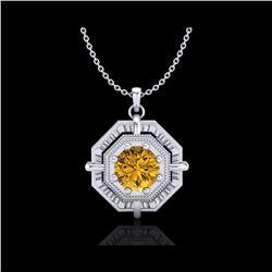0.75 ctw Intense Fancy Yellow Diamond Art Deco Necklace 18K White Gold