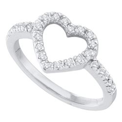 10kt White Gold Round Diamond Simple Heart Outline Ring 1/5 Cttw