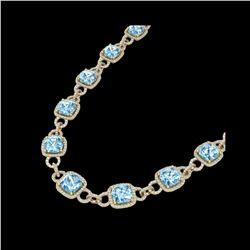 66 ctw TOPAZ & Micro VS/SI Diamond Eternity Necklace 14K Yellow Gold