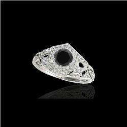 1.4 ctw Certified VS Black Diamond Solitaire Antique Ring 10K White Gold