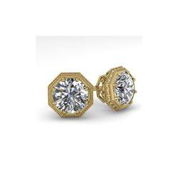 1.53 ctw Certified VS/SI Diamond Stud Earrings 18K Yellow Gold