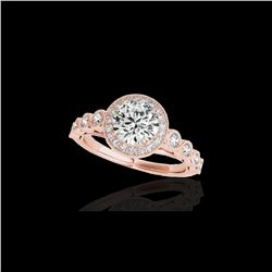 1.50 ctw Certified Diamond Solitaire Halo Ring 10K Rose Gold