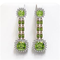 19.88 ctw Peridot & Diamond Earrings 14K Rose Gold