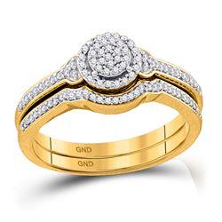 10k Yellow Gold Round Diamond Cluster Bridal Wedding Engagement Ring band Set 1/4 Cttw