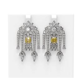 14.93 ctw Canary Citrine & Diamond Earrings 18K White Gold