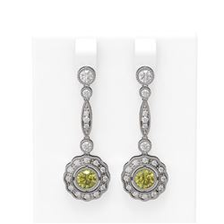 2.19 ctw Fancy Yellow Diamond Earrings 18K White Gold