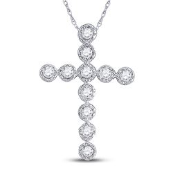 14kt White Gold Round Diamond Paternoster Cross Faith Pendant 1/8 Cttw