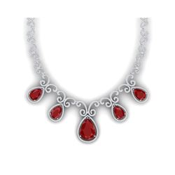 38.42 ctw Ruby & VS Diamond Necklace 18K White Gold