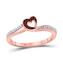 10kt Rose Gold Round Red Color Enhanced Diamond Heart Ring 1/10 Cttw