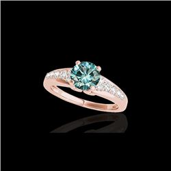 1.40 ctw SI Certified Fancy Blue Diamond Solitaire Ring 10K Rose Gold