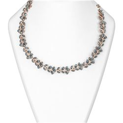 85.88 ctw Blue Topaz & Diamond Necklace 18K Rose Gold