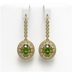 8.45 ctw Tourmaline & Diamond Victorian Earrings 14K Yellow Gold
