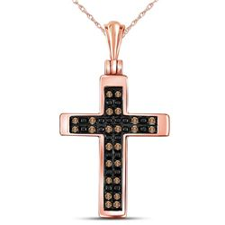 14kt Rose Gold Round Brown Diamond Cross Faith Pendant 1/8 Cttw