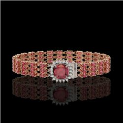 28.56 ctw Tourmaline & Diamond Bracelet 14K Rose Gold