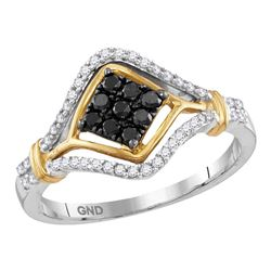 10kt Two-tone Gold Round Black Color Enhanced Diamond Cluster Ring 3/8 Cttw