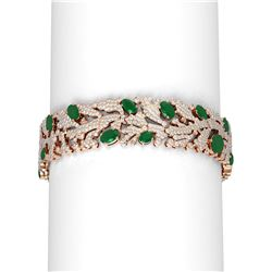 26.57 ctw Emerald & Diamond Bracelet 18K Rose Gold