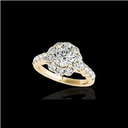 2.35 ctw Certified Diamond Solitaire Halo Ring 10K Yellow Gold