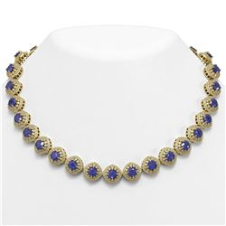 82.17 ctw Sapphire & Diamond Victorian Necklace 14K Yellow Gold